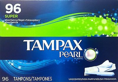 Tampax Pearl Unscented Tampons, Super Absorbency 96 CT