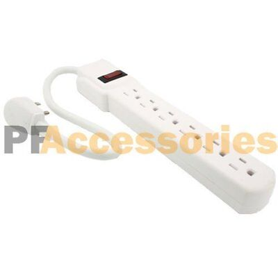 1 FT 6 Outlet Safety Surge Protector Angle Plug AC Wall Power Strip White UL