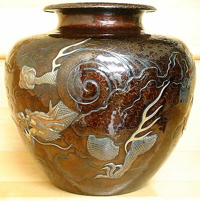 Japanese Hammered and Patinated Copper Mixed Metal Dragon Vase, Meiji Period