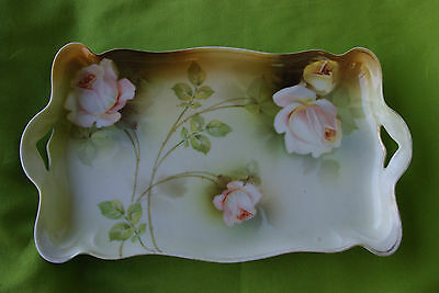 119. R.S. Germany Porcelain Vanity Tray Pale Pink Rose ca.1910