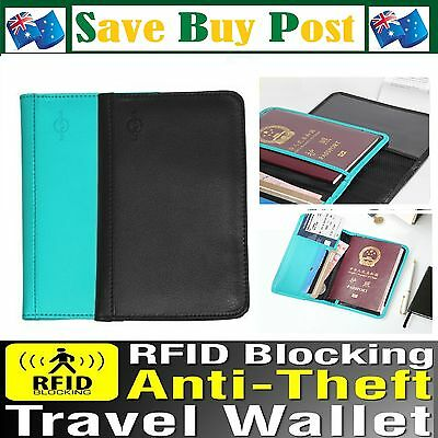 RFID Anti Scan Skimming Blocking Synthetic Leather Passport Card Wallet