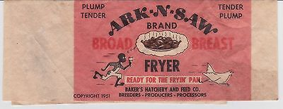1951 BLACK AMERICANA LABEL ARK-N-SAW Fryer Chicken Bakers Hatchery Advertising