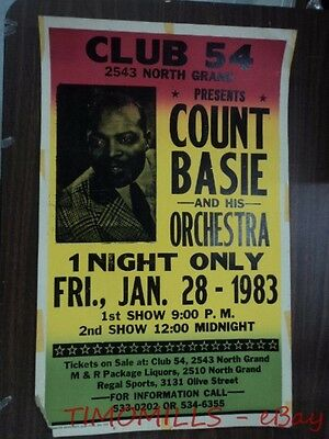 1983 Count Basie Orchestra Jazz Window Card Poster Club 54 St Louis MO ORIGINAL