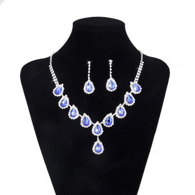Blue Gem Crystal Teardrop Necklace Earrings Wedding Bridal Prom Jewelry Set