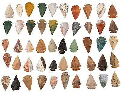 *** 50 PC Lot Flint Arrowhead OH Collection Project Spear Points Knife Blade ***