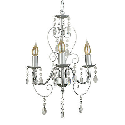 Vintage Shabby Chic Style Grey 3 Way Jewel Chandelier Ceiling Light Fitting
