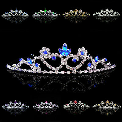 Kids Flower Girl Children Wedding Prom Tiara Crown Headband Kid Size - 10 Colors
