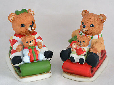 Vintage HOMCO Christmas Sledding Bear Figurines w/Cubs Set # 5102