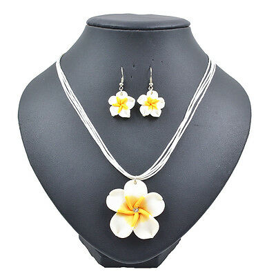 Lady Summer Beach Hawaiian White Frangipani Flower Necklace Earrings Jewelry Set