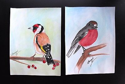 Red Robin and European Goldfinch 2 watercolours on A4