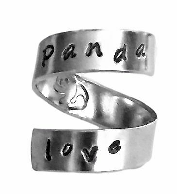 Panda Love Hand Stamped Aluminum Spiral Ring Personalized Jewelry