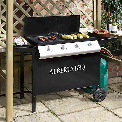 Outdoor Gas Propane Barbeque Large 4 Burner Portable Barbecue Grill Garden BBQ