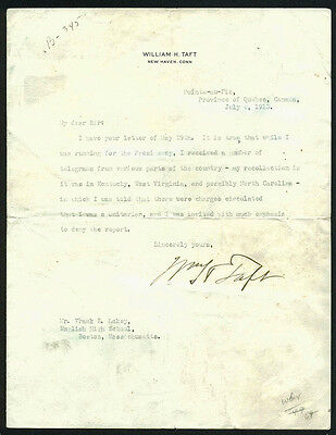 William Taft Authentic Signed 7X9 1913 Letter On Personal Letterhead PSA #Y00388