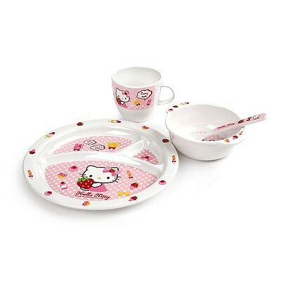 Locknlock Hello Kitty Baby Dish Set 4pcs Kids Lunch Meal Bowl Plate Cup Spoon