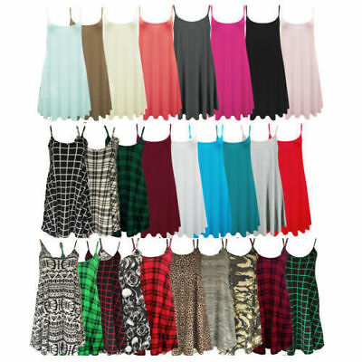 Womens Ladies Plus Size Camisole Cami Plain Strappy Swing Dress Vest Top Flared