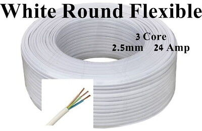Mains Power Electric Cable 3 Core 2.5mm 24 Amp White Round Flexible 3183Y