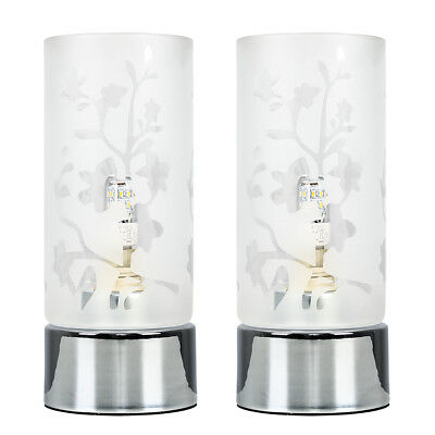Pair of Chrome & Etched Glass Touch Bedside Table Lights Lamps - Bulbs Included