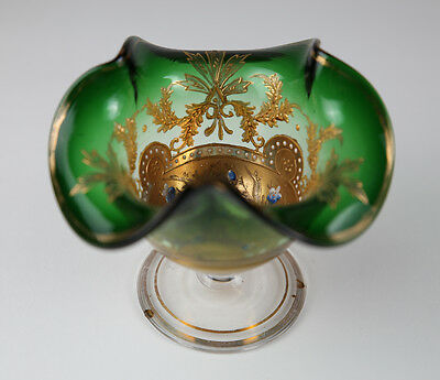Early 1900's Green Gold Bohemia European glass Compote Enameled hand blown