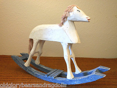 Prim Distressed White Wooden Mini Rocking Horse for Bears & Dolls, Home Display