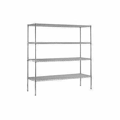 "Sandusky Heavy Duty NSF Certified Chrome 4-Shelf Wire Shelving 74""H x 72""W x 18D"