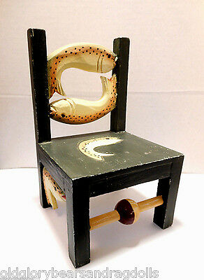 Mini Wooden Carved Trout Fishing Angler Chair for Bears & Dolls, Home Display