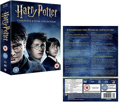 HARRY POTTER 1-8 2001-2011: COMPLETE 7 STORIES/8 MOVIES - 16x Eu Rg2 DVD not US