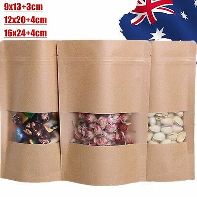 10x 20x 50x Stand Up Bag Seal Packaging Kraft Paper Window Sealing Pouch WOSEB