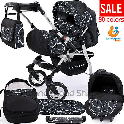 Pushchair SWIVEL WHEELS+ 3in1 + Car Seat + baby pram + stroller + Buggy 90cols.