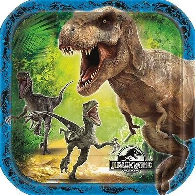 "JURASSIC WORLD - 8 Square PLATES 7"" - Birthday Party Tableware (Dinosaurs/Park)"