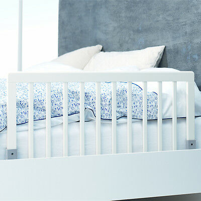 New Babydan White Safety Wooden Bed Rail Guard To Fit Junior & Toddler Beds
