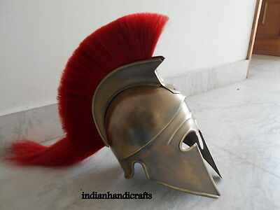 Wearable Medieval Armor Greek Corinthian Helmet W Red Plume Re-enactment Replica