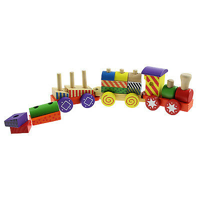 Marionette 17 Pce Traditional Learning Solid Wooden Train Kids Children Playset