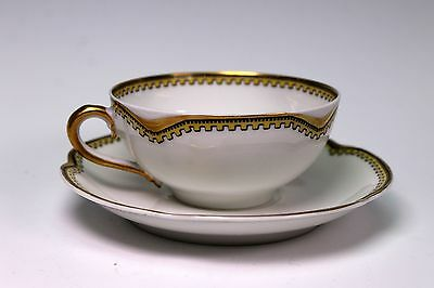 Haviland France Limoges Anjou Yellow Black Sweet Demitasse Cup and Saucer