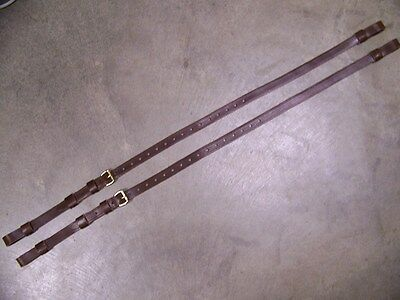 LEATHER LUGGAGE STRAPS for LUGGAGE RACK/CARRIER~~(2) SET~~BROWN~~S.BRASS BUCKLES