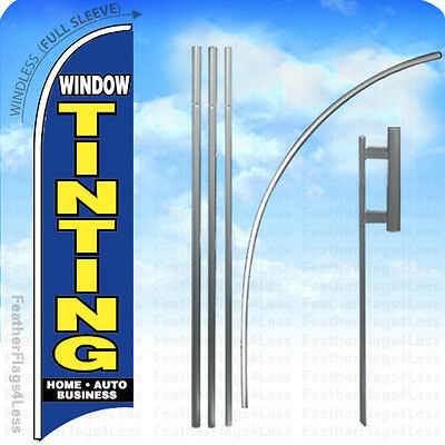 WINDLESS Swooper Feather Banner Sign Flag 15' KIT - WINDOW TINTING v2b