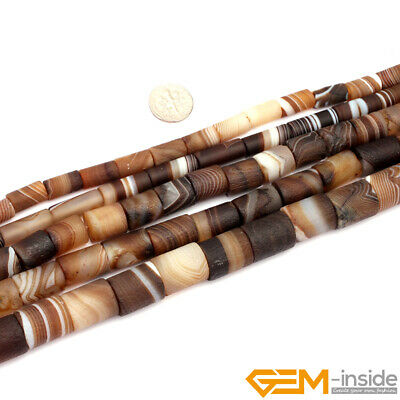 """Natural Frost Botswana Agate Gemstone Matte Tube Beads For Jewelry Making 15"""""""