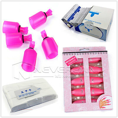 Various Gel Polish Remover UV Soak Off Removal Clip Wraps Pads Nail Art Cleaner