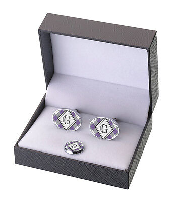 New Item!! Wedding Party Argyle Cufflinks & Tie Tack Set-12 Colors! Personalize!