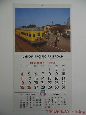 1956 Union Pacific Railroad Advertising Wall Calendar Domeliner Steamliner Era