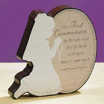 First Communion Kneeling Girl Stand Up Plaque Gift Commemoration Prayer
