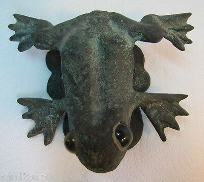 Old Bronze Frog with Glass on Lilly pad Door Knocker heavy ornate detailed