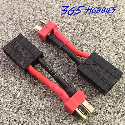 QTY-(2) Male Deans to Female TRX Traxxas Connector Adapter Charger Slash E Revo