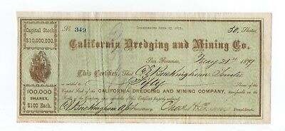 1879 California Dredging and Mining Company  Stock - C.E. Buckingham