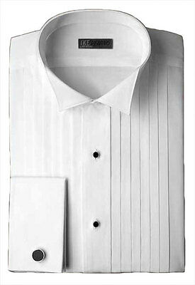 Ike Behar Wing Tip Collar with 1/2 Inch Pleats Tuxedo Shirt