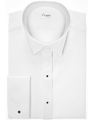 Cotton Wing Tip Collar Tuxedo Shirt with Swiss Pleats