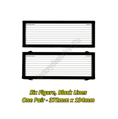 Number Plate Covers 6 Figure Standard Black Lines One Pair 6L Lifetime Warranty