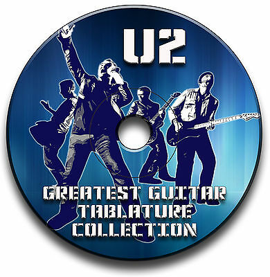 130 x U2 ROCK GUITAR TABS TABLATURE SONG BOOK SOFTWARE CD