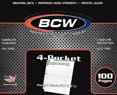 100 BCW 4 Pocket Pages for Regular Dollar Bills Currency Coupons Money Protector