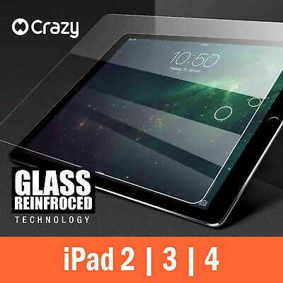 CRAZY Anti Scratch Tempered Glass Screen Protector Film For Apple iPad 2 3 4