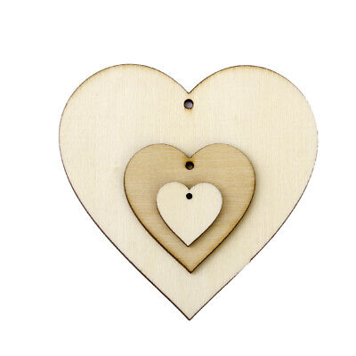 25pcs Wooden Heart Shape Embellishments Painting Craft Cardmaking Scrapbooking
